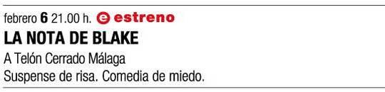 cartel promocional de LA NOTA DE BLAKE, de A Telón Cerrado Málaga