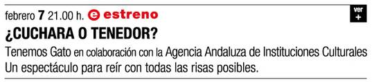 cartel promocional de ¿CUCHARA O TENEDOR? Tenemos Gato
