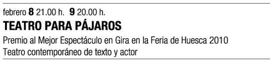 cartel promocional de la obra TEATRO PARA PÁJAROS de  Histrión Teatro